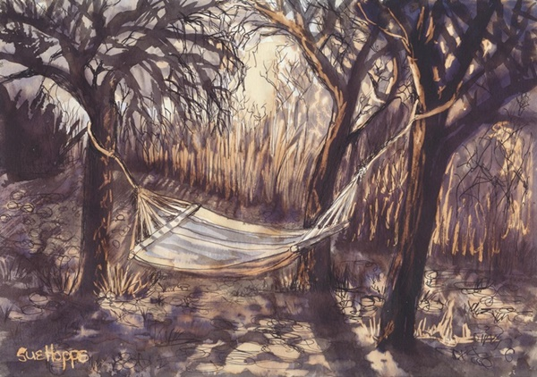 hammock under the trees