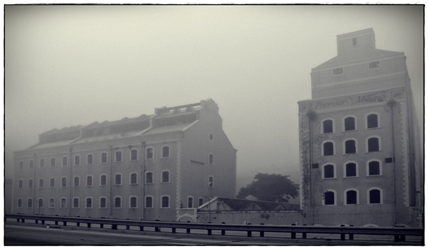 Premier Milling Building in the mist