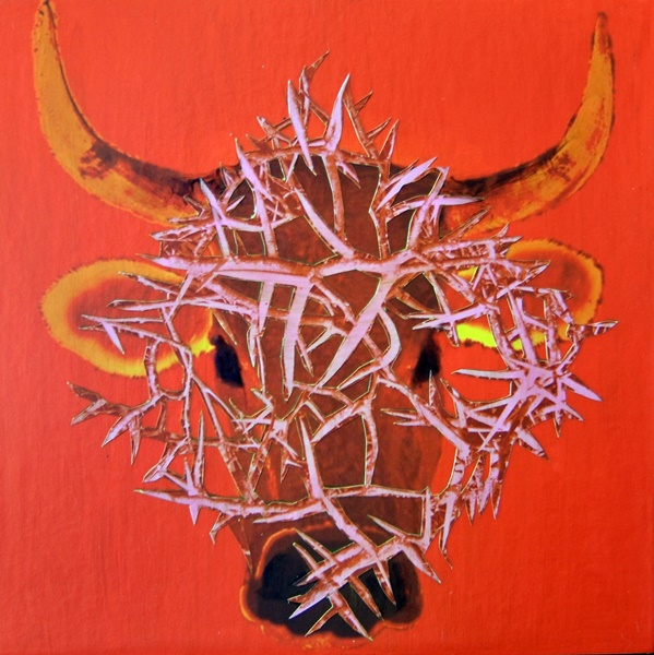 cow with a veil of thorns
