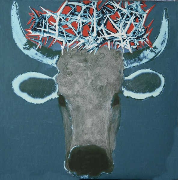 cow with halo of thorns