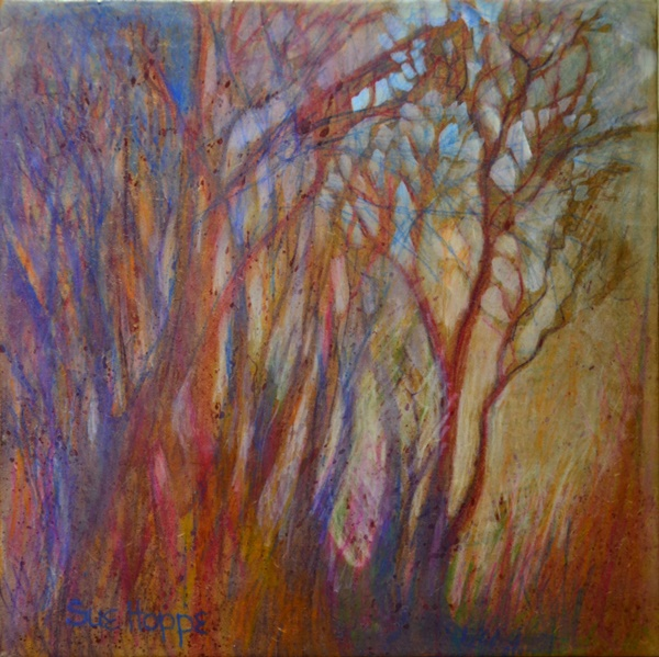 trees in pencil crayon and encaustic
