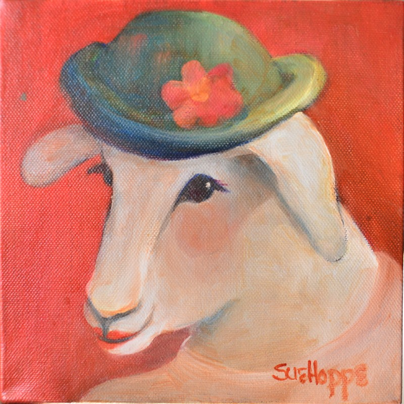Sheep with hat and flower