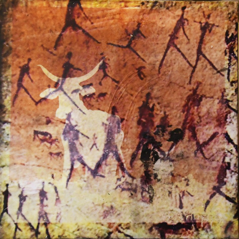 Rock art cattle and hunters