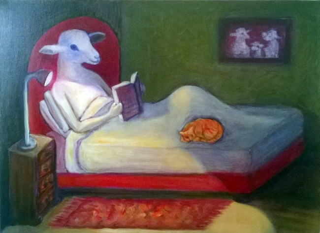 sheep reading in bed