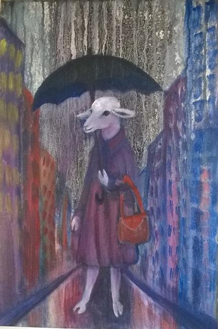 sheep with umbrella and handbag