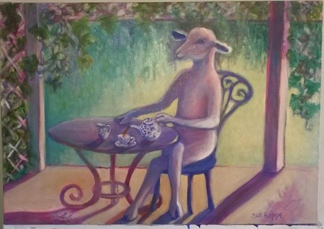 sheep pouring tea