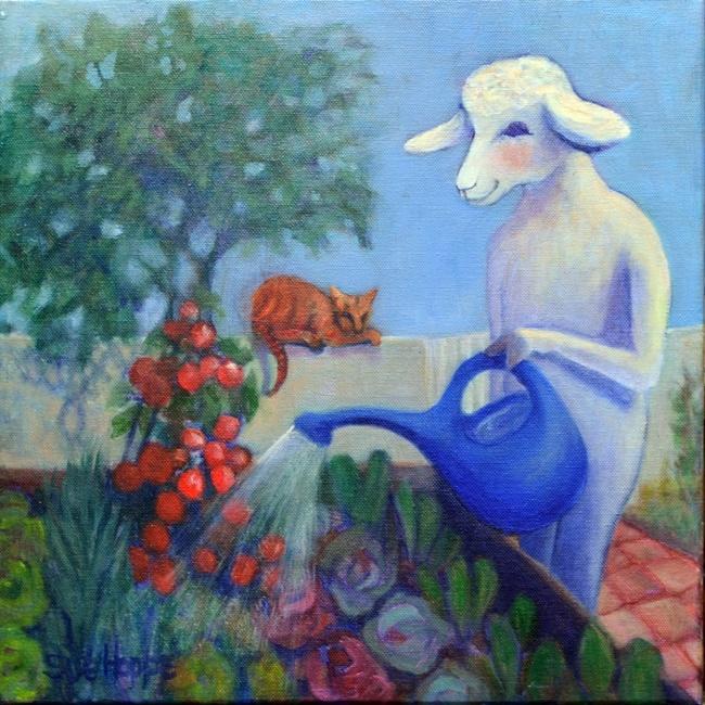 sheep watering flowers