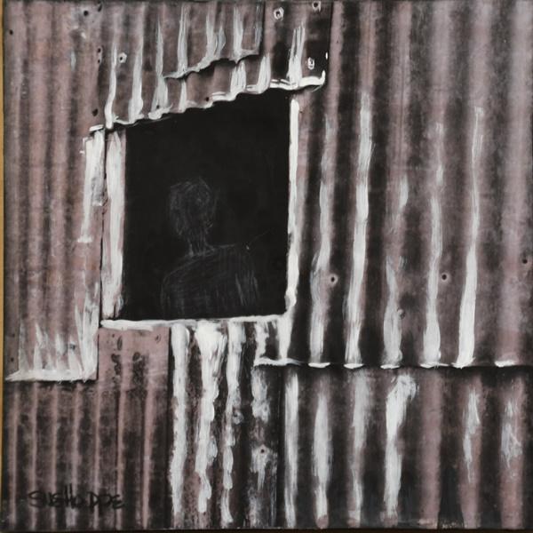corrugated shack window monochrome
