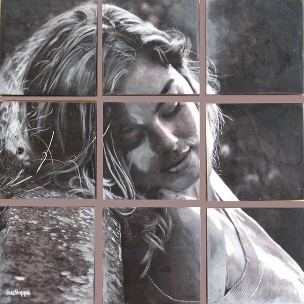 portrait of girl, monochrome