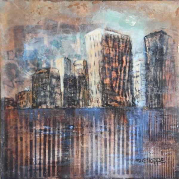 Cityscape with pallisade fence