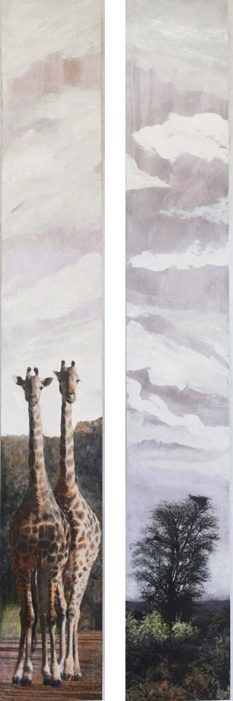 giraffes and eagles nest tall thin paintings