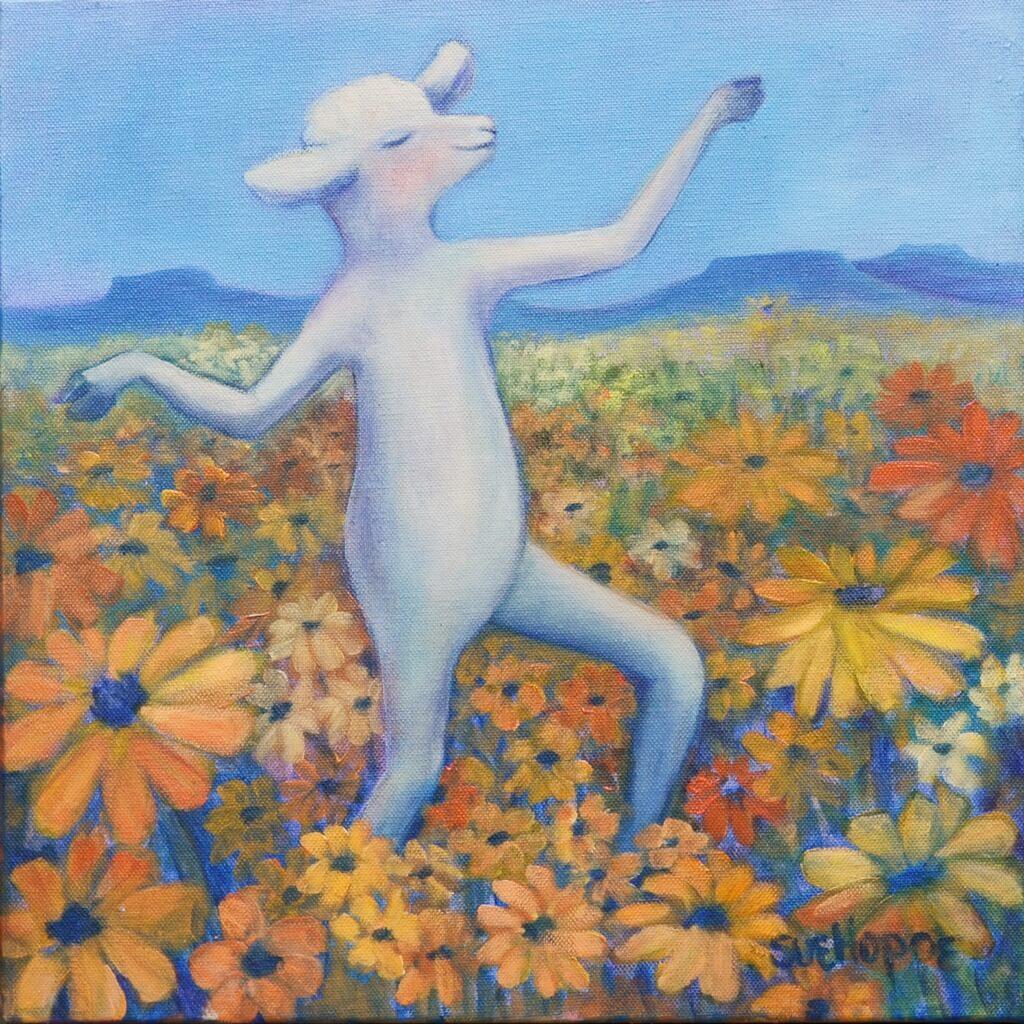 sheep dancing in daisies