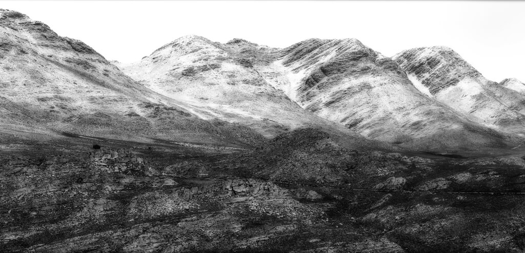 snow on mountains monotone