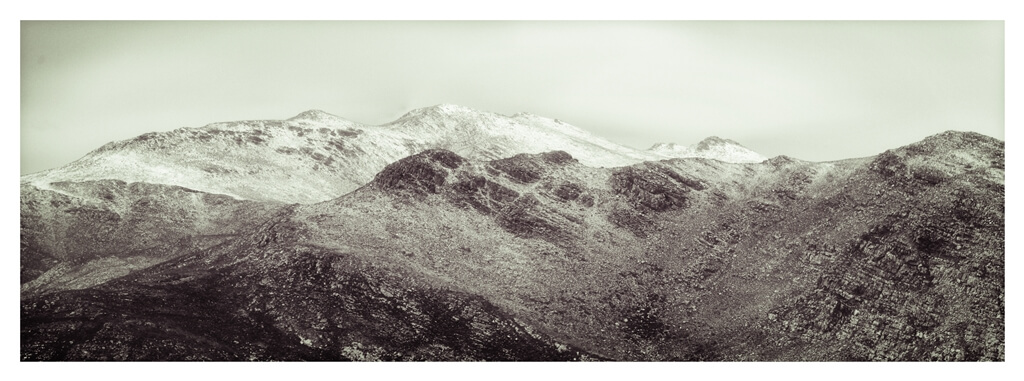 snow on mountains, monotone